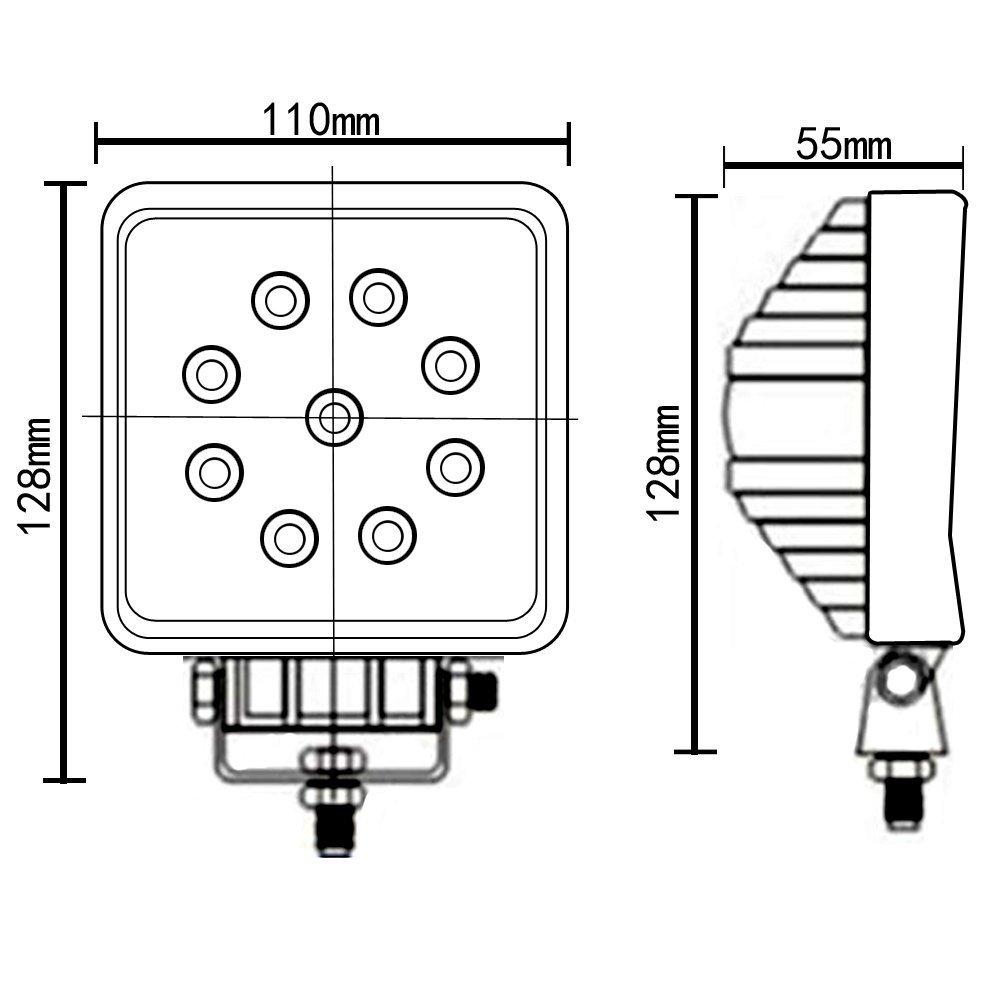 4 FLUOCOMPACTE 27W 4,3 pouces LED LIGHT WORK 2565LM DE TRAVAIL LAMPE PROJECTEUR LED SPOT LAMPE HORS ROUTE VOITURE BATEAU CAMION TRACTEUR V/ÉHICULES INDUSTRIELS SUV ATV UTE DC 12 V 24 V