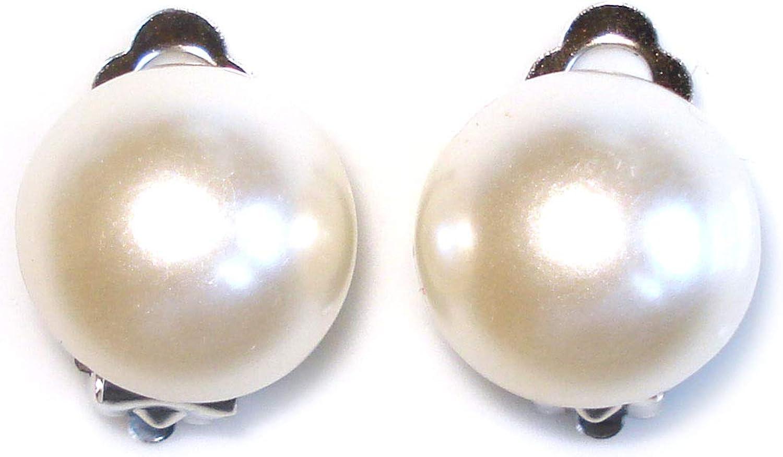 Idin Pendientes de clip - Perla de acrílico (aprox. 15 x 15 mm)