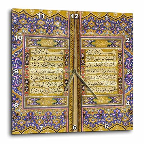 3dRose Purple and Gold Islamic Suras - Decorated Quran Prayers In Arabic Text - Islam Muslim Arabian Koran - Wall Clock, 13 by 13'' (dpp_162529_2) by 3dRose