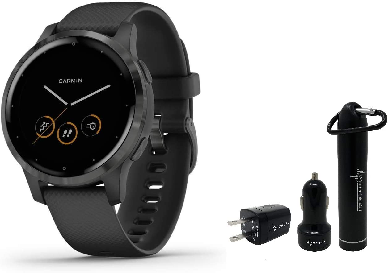 Garmin Vivoactive 4 GPS Smartwatch and Wearable4U Power Pack Bundle (Black/Slate)