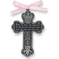 """CA Gift CM7 Baby Girl Cross Crib Medal, 3"""" High"""