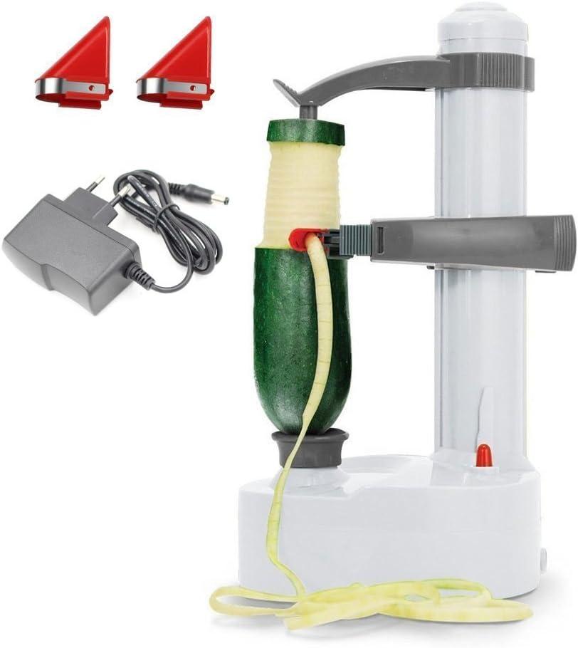 Eplucheur de pommes de terre electrique Malayas [2 lames supplementaires] - Coupe automatique de fruits et legumes rotatifs (Blanc)