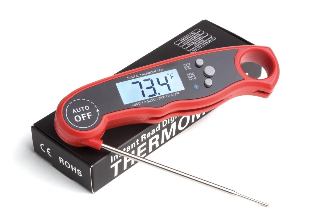 Digital Meat Thermometer Waterproof Fast Instant Read Foldable Kitchen Tool for BBQ accessories Best Food and Kitchen Thermometer Backlit with Calibration Red BBQ, Grill Accessories