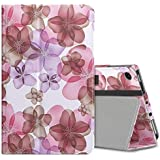 MoKo Case for All-New Amazon Fire 7 Tablet (7th Generation, 2017 Release Only) - Slim Folding Stand Cover Case for Fire 7, Floral Purple (with Auto Wake/Sleep)