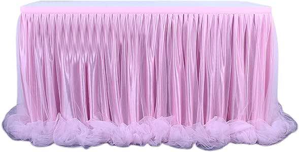 Faldón de mesa, 1,8 m, tul de color caramelo, falda de mesa para ...