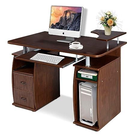 Costway Escritorio Mesa de Oficina (MDF para Ordenador Multi ...