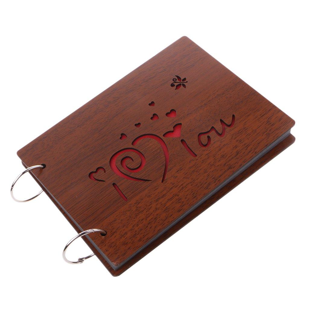 OHTOP 8 Inch Just For You or I love U Wooden Crafts Albums Red Loose-leaf Glued Lovers Photo Album,22x16cm/8.66x2.30 (Type 2:I love u)