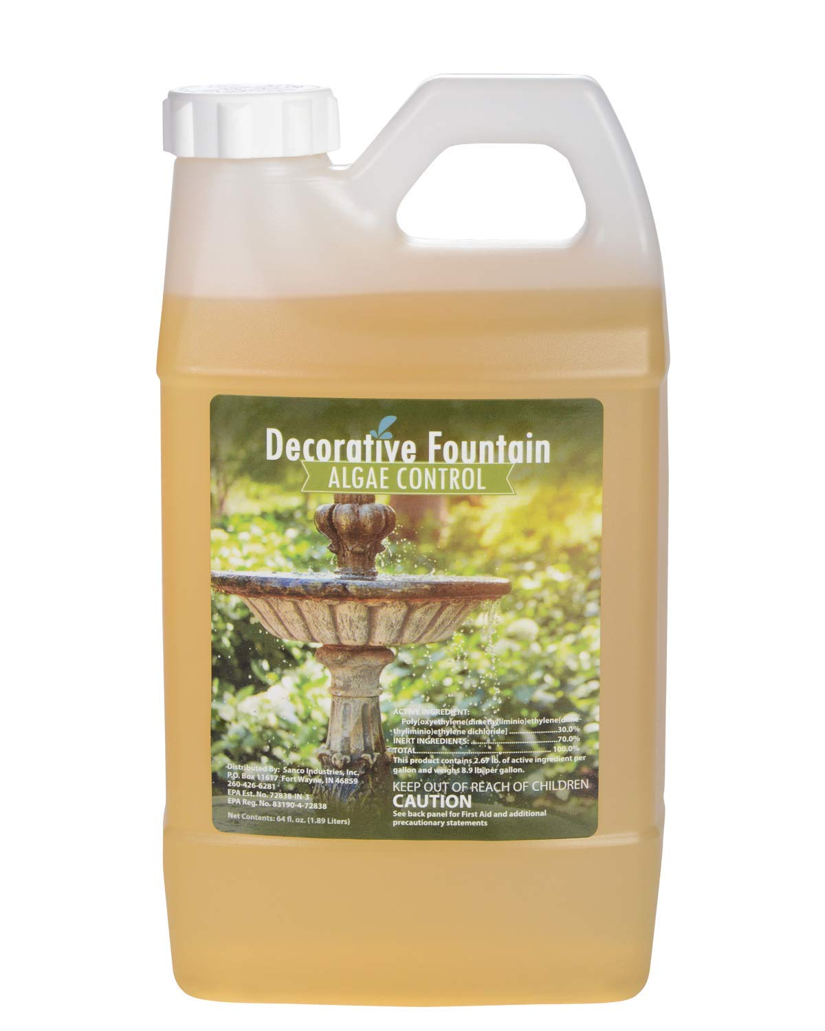 Fountain Algaecide and Clarifier, Formulated for Small Ponds, Water Features, 64oz by Sanco Industries