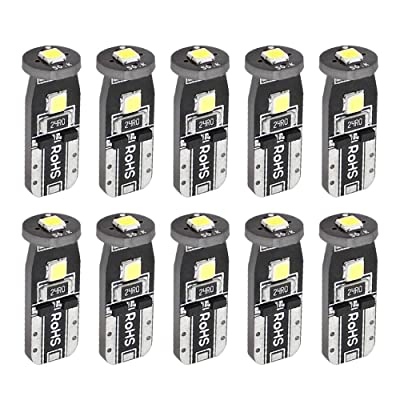 Boodled 10Pcs T10 Super Bright 3030 Chip 3-smd LED Canbus No Error Bulbs for Car Auto Interior Dome Map Door Trunk Courtesy License Plate Side Wedge Bulb 158 192 6000K~6500K White (10xT10-3030-3-W): Automotive