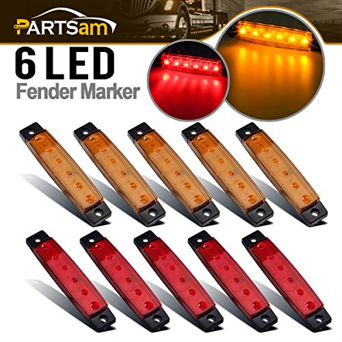 Partsam 10 x 3.8 Truck Bus Boat Trailer Amber Red Side Marker Indicators Light Lamp 6LED Marker Light Amber, Rear Side Marker Light, Truck Cab Marker Light, RV Marker Light