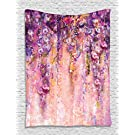 Ambesonne Spring Flowers Decor Collection, Wisteria Blossoms Watercolor Painting Effect and Bubble Design, Bedroom Living Room Dorm Accessories Wall Hanging Tapestry, Purple Navy Blue Ivory Lilac