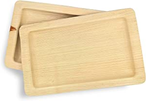 Dtocs Palm Leaf Plates 7x11 Inch Rectangle (Pack 50) | Bamboo Look Eco-friendly, Compostable, Natural, Disposable Platter Charcuterie Board Serving Tray For Weddings, Birthday Parties