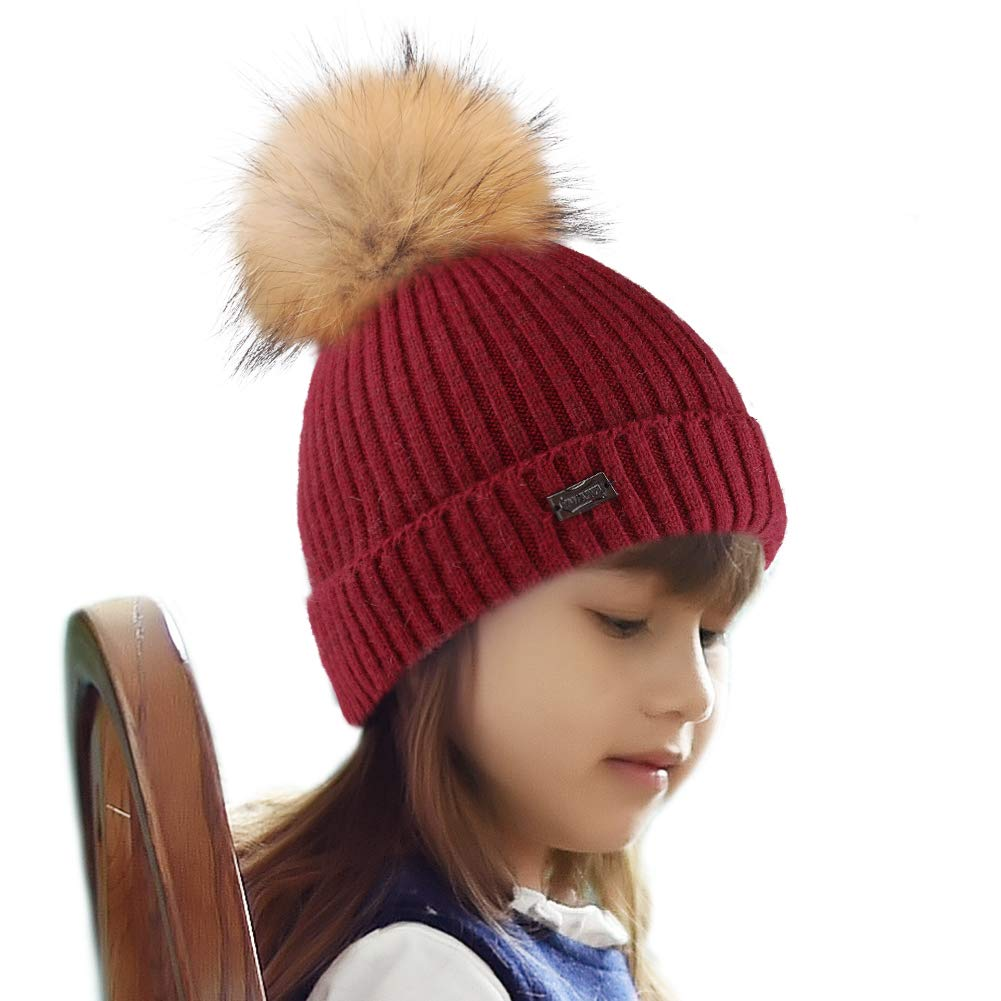 4de83d7102e8d6 FURTALK Kids Winter Hat Toddler Pom Beanie Knit Hat Boy Girl Christmas (Aged  2-8)