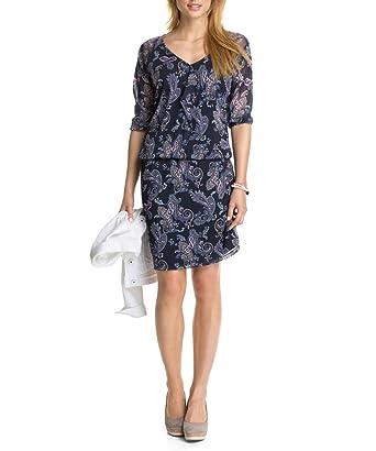 ESPRIT Damen Kleid Strechiges Mesh mit Print 034EE1E015