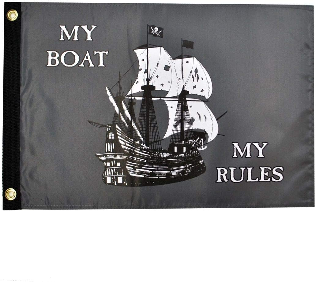 Pirate My Boat My Rules 12x18 Outdoor Garden Flag