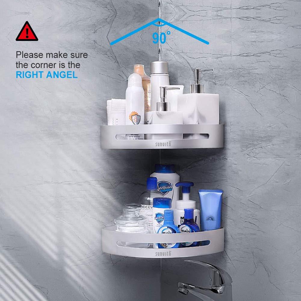 Mensole doccia, Sunvito Mensole Bagno Angolare Senza Foratura, Lega di Alluminio Anti-Ruggine con 2 Piani, Montato A Muro, Mensole per Doccia Bagno Cucina