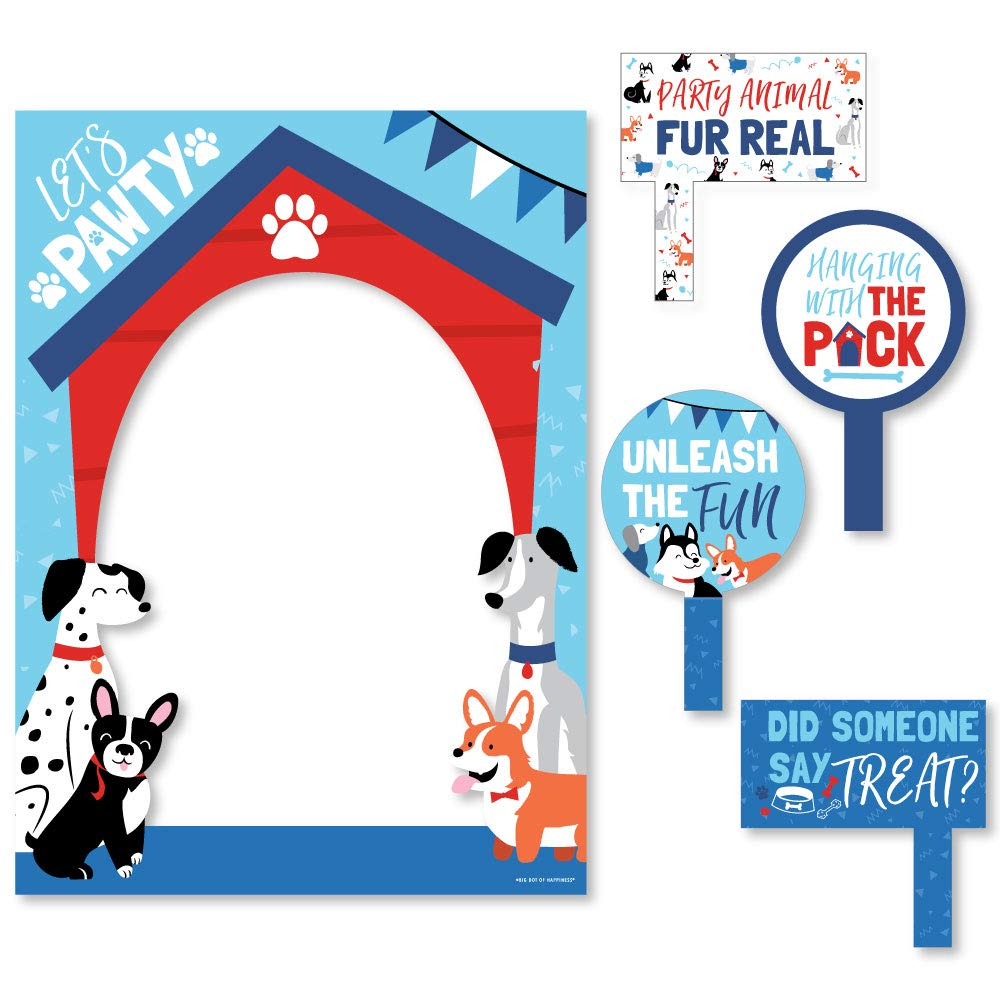 Big Dot of Happiness Pawty Like a Puppy - Dog Baby Shower or Birthday Party Selfie Photo Booth Picture Frame and Props - Printed on Sturdy Material
