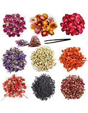 Natural Dried Flowers Kit, Natural Dried Herbs with 2 Mesh Drawstring Bag for Soap,Candle,Resin Jewelry Making,Bath,Nail - Rose Petals,Lilium,Jasmine,Don't Forget Me and More