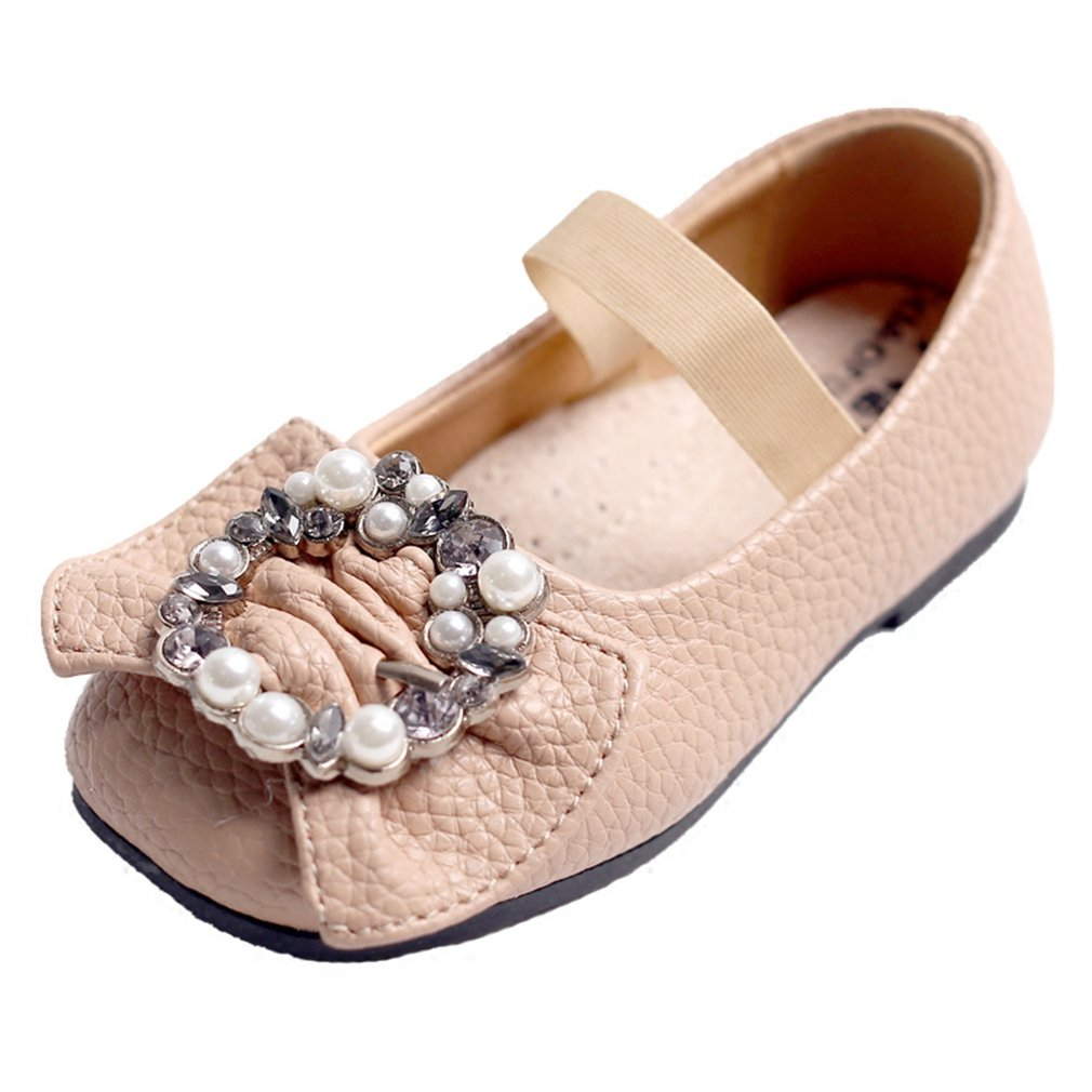 CYBLING Girls Kids Mary Jane Shoes Bowknot Slip on Ballerina Ballet Flat with Elastic Strap