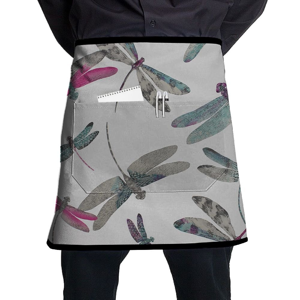 Jaylon Waist Short Apron Half Chef Apron Dragonfly Dance Cooking Apron with Pockets Home Kitchen Cooking Pinafore