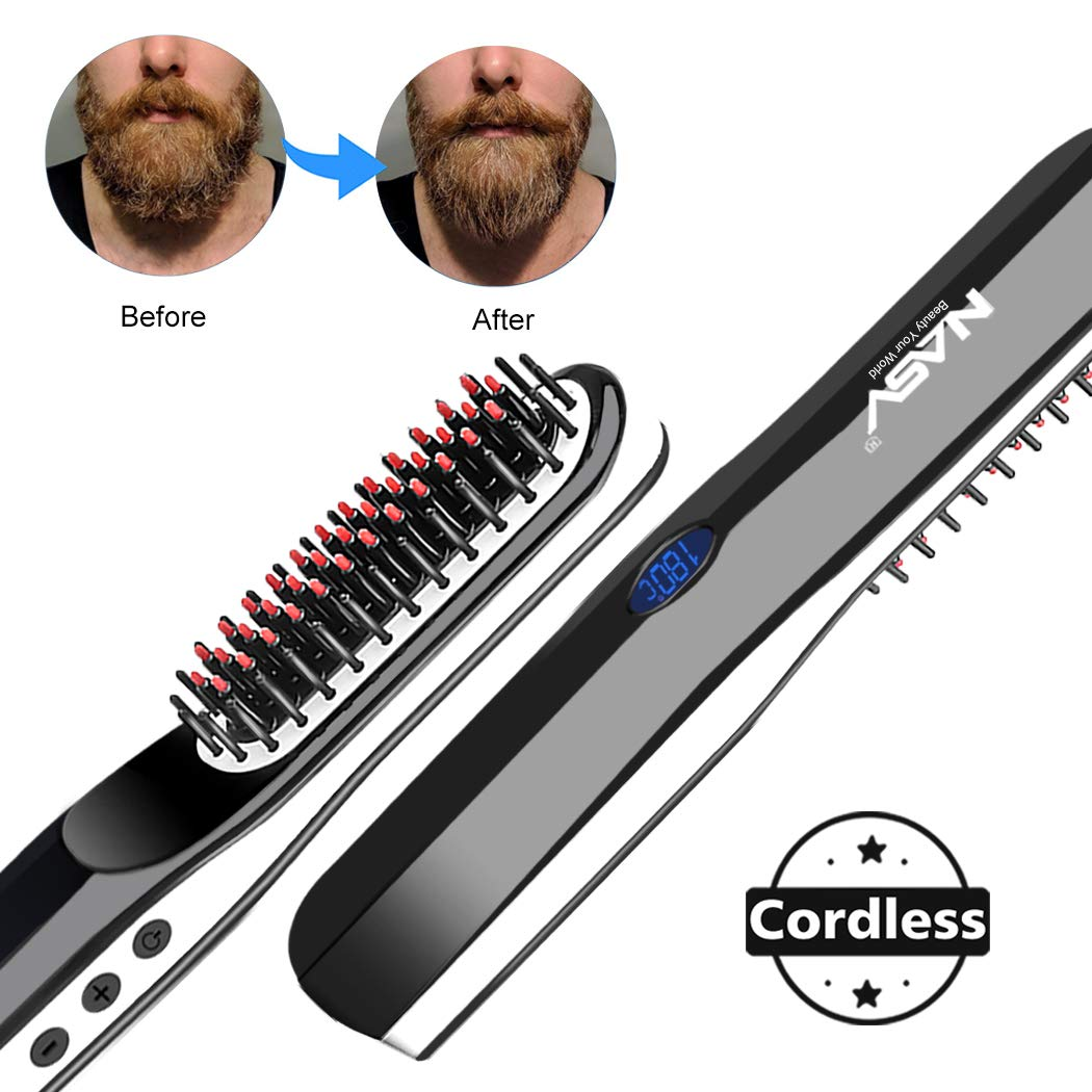 Beard Straightener Brush, Suntee Hair Straightening Brush with Cordless/Anti Scald/Auto Shut Off/Mini Sized for Travel/Home, 2 in 1 Multifunctional Hair Comb Curling Iron for Men Women by Suntee