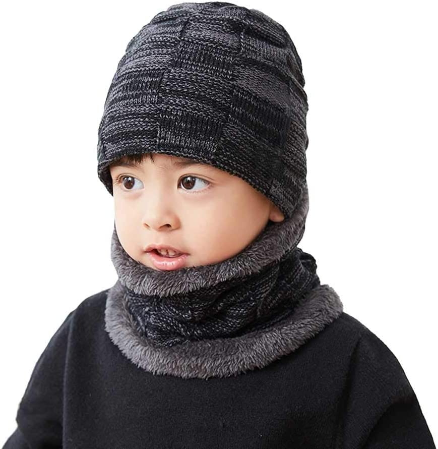 Black Grey Boys Girls Winter Warm Fleece Lining Beanie Snow Hat and Scarf Set