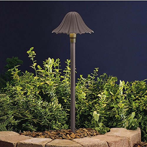 15314AZT Single-Tier Leaf 1LT Incandescent/LED Hybrid Low Voltage Landscape Path and Spread Light, Textured Architectural Bronze Finish