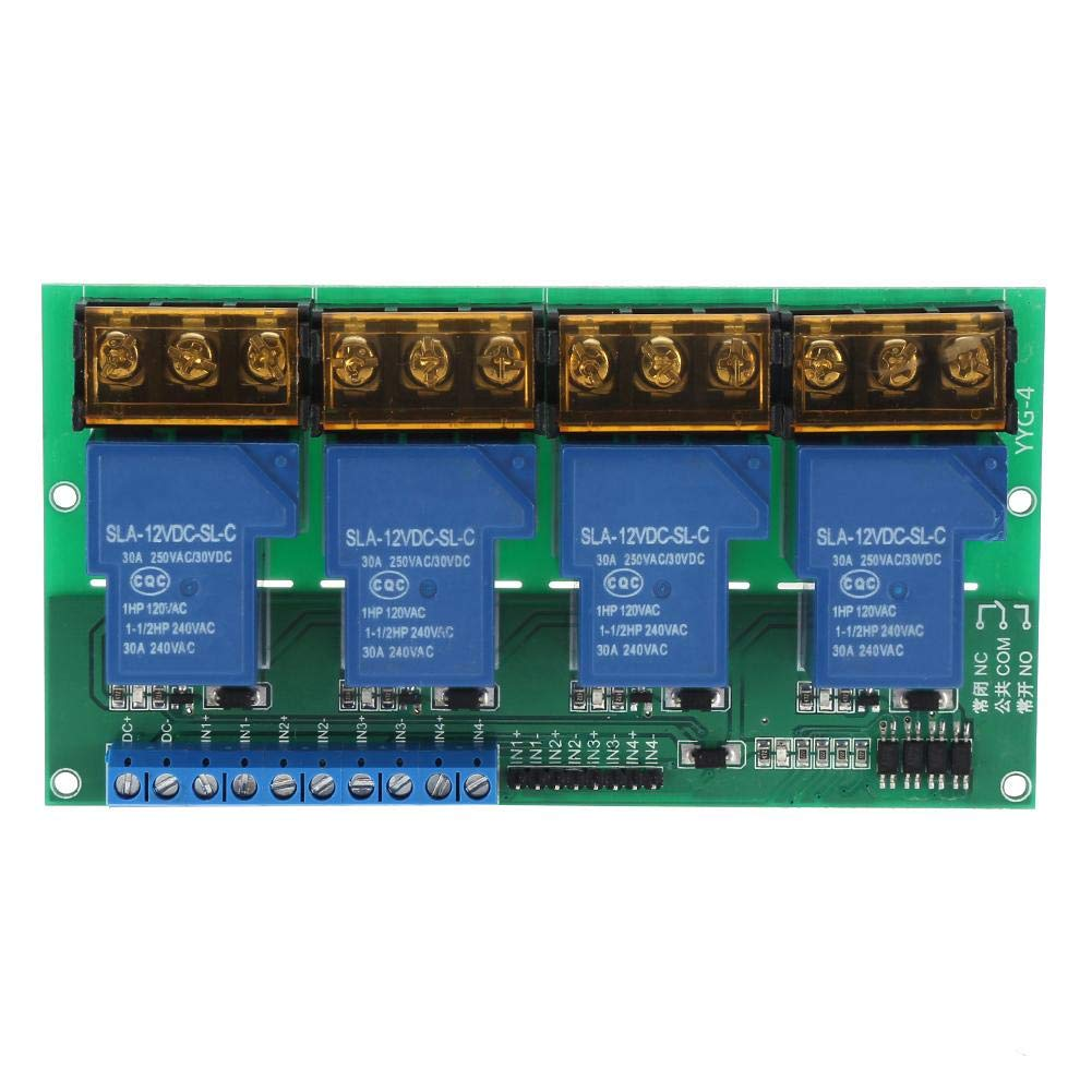 YYG-4 Four Way Relay Module, 30A Control Panel Optocoupler Isolation High Power AC 250V/30A, Less Than DC 30V/30A(12VDC) by Vikye
