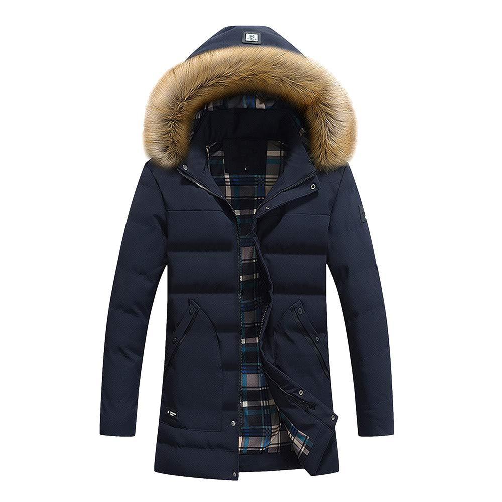 Mens Overcoat,Men's Pure Color a hat Hooded Jacket Windbreaker Coat,Faux Fur Jacket Men(XXXL,Dark Blue) by Ennglun Mens Windbreaker Boys Coats For Men