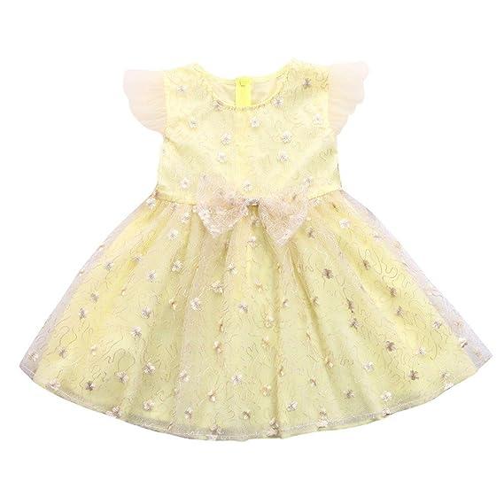 c8c316fb91e Amazon.com  Infant Girls Light-Yellow Tee Dress Solid Floral Sundress  Bowknot Yarn Princess Tutu Dress 2T~6T  Clothing