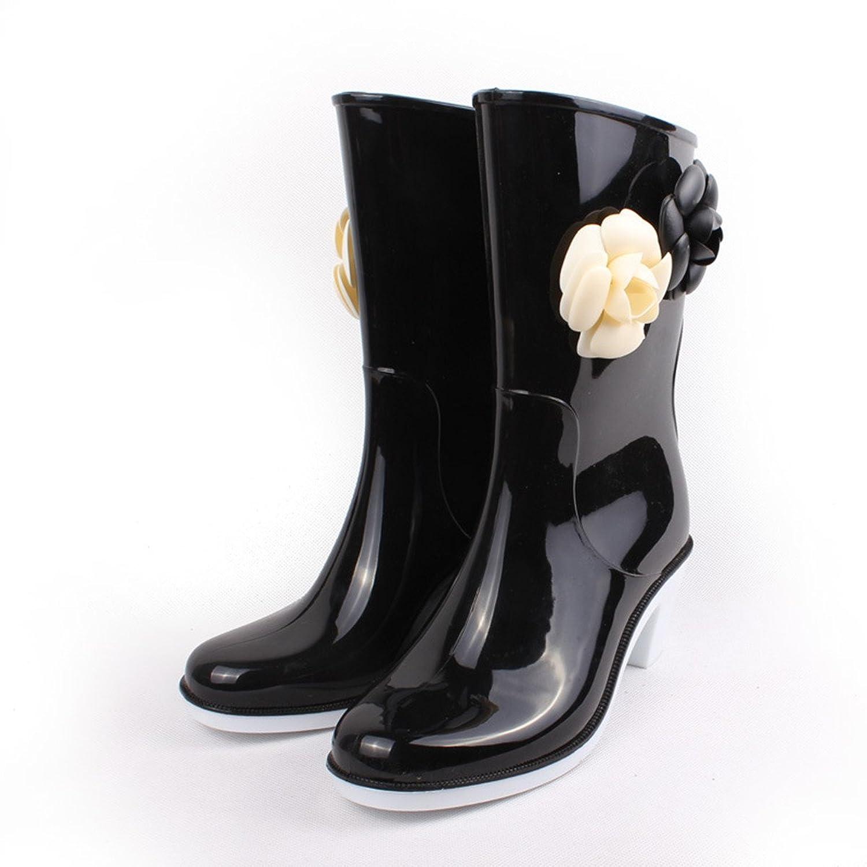 SkyleCoel Women's Mid-Calf High-Heeled Floral Rain Boots