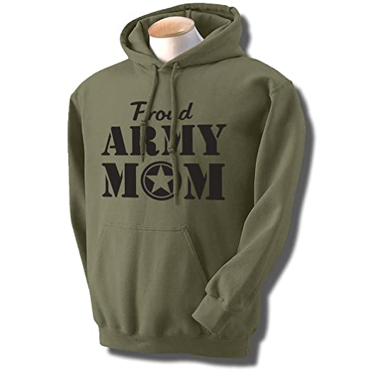 Amazon.com  Proud Army Mom Hooded Sweatshirt in Military Green  Clothing f960fa262