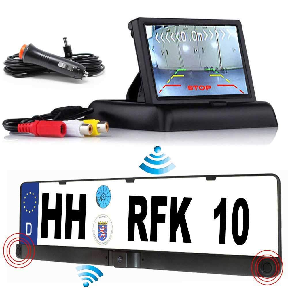 Furgoneta hasta 5 a/ños de garant/ía HSRpro C/ámara de visi/ón Trasera inal/ámbrica RFK-28 con Sensor de Aparcamiento la c/ámara ya est/á integrada en el Soporte para matr/ícula para Coche autob/ús