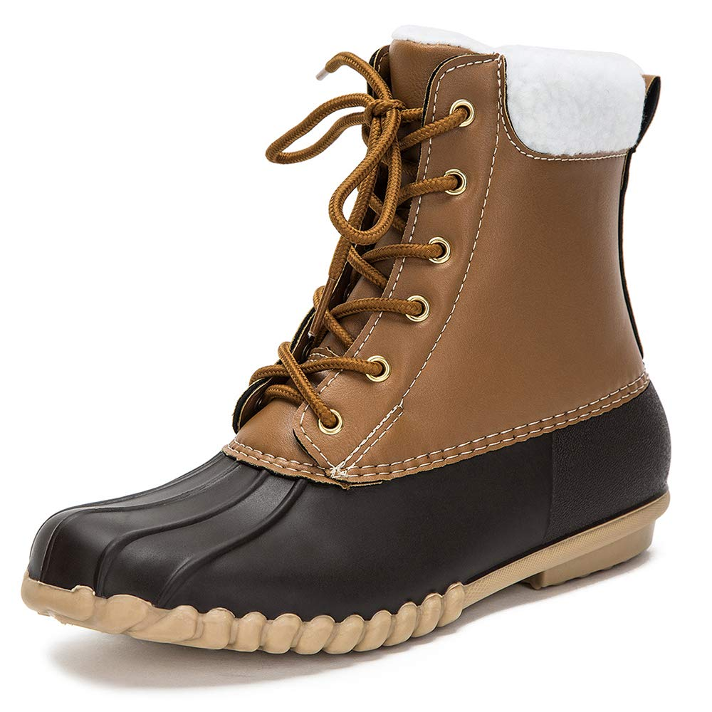Brown DKSUKO Women's Lace UP Two-Tone Rain Duck Boots