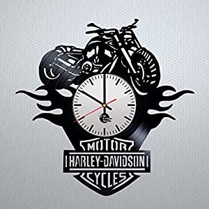 Motorcycle Ornament Design Vinyl Record Wall Clock - Gift Idea for men and women - Contemporary home room or office wall art decoration