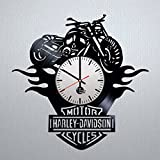 interesting home office ideas for women Motorcycle Ornament Design Vinyl Record Wall Clock - Gift Idea for men and women - Contemporary home room or office wall art decoration