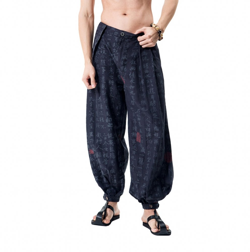 Katuo Chinese Traditional Men's Casual Pants S-XXL (S, Blue)