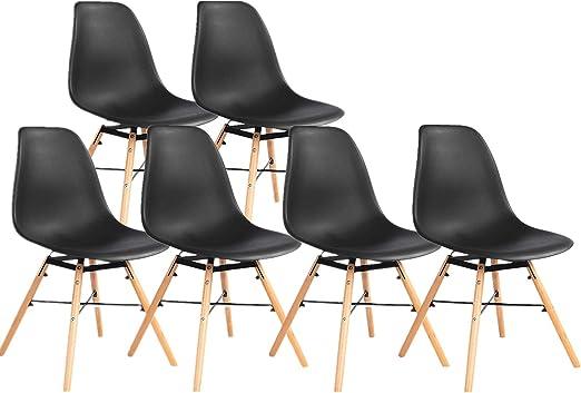 Ellexir Plastic Dining Chairs With Wooden Legs Modern Lounge Dining Room Office Chairs 6 Amazon De Kuche Haushalt
