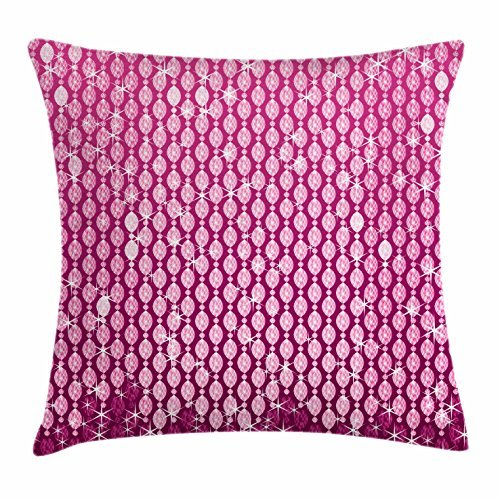 Diamonds Throw Pillow Cushion Cover, Oval Shapes Dark and Pale Pink Colored Stones in Vertical Order Bridal Pattern, Decorative Square Accent Pillow Case, 18 X 18 Inches, Magenta Pink