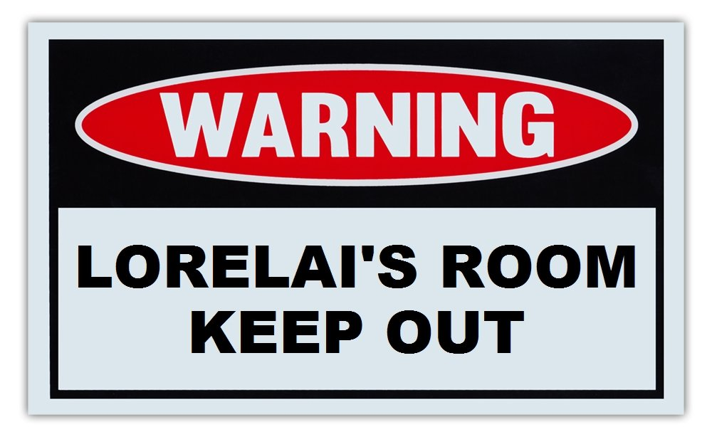 Novelty Warning Sign: Lorelai's Room Keep Out - For Boys, Girls, Kids, Children - Post on Bedroom Door - 10 x 6 Plastic Sign Crazy Sticker Guy
