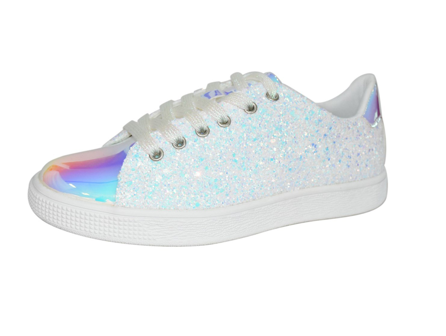 Lucky Step Glitter Sneakers Lace up | Fashion Sneakers | Sparkly Shoes for Women (10 B(M) US,White Hologram)