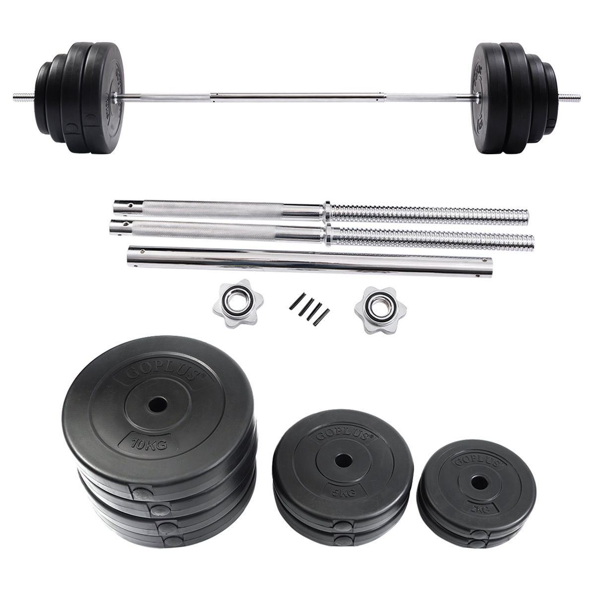 Goplus 132 LB Barbell Dumbbell Weight Set Gym Lifting Exercise Curl Bar Workout by dumbbells