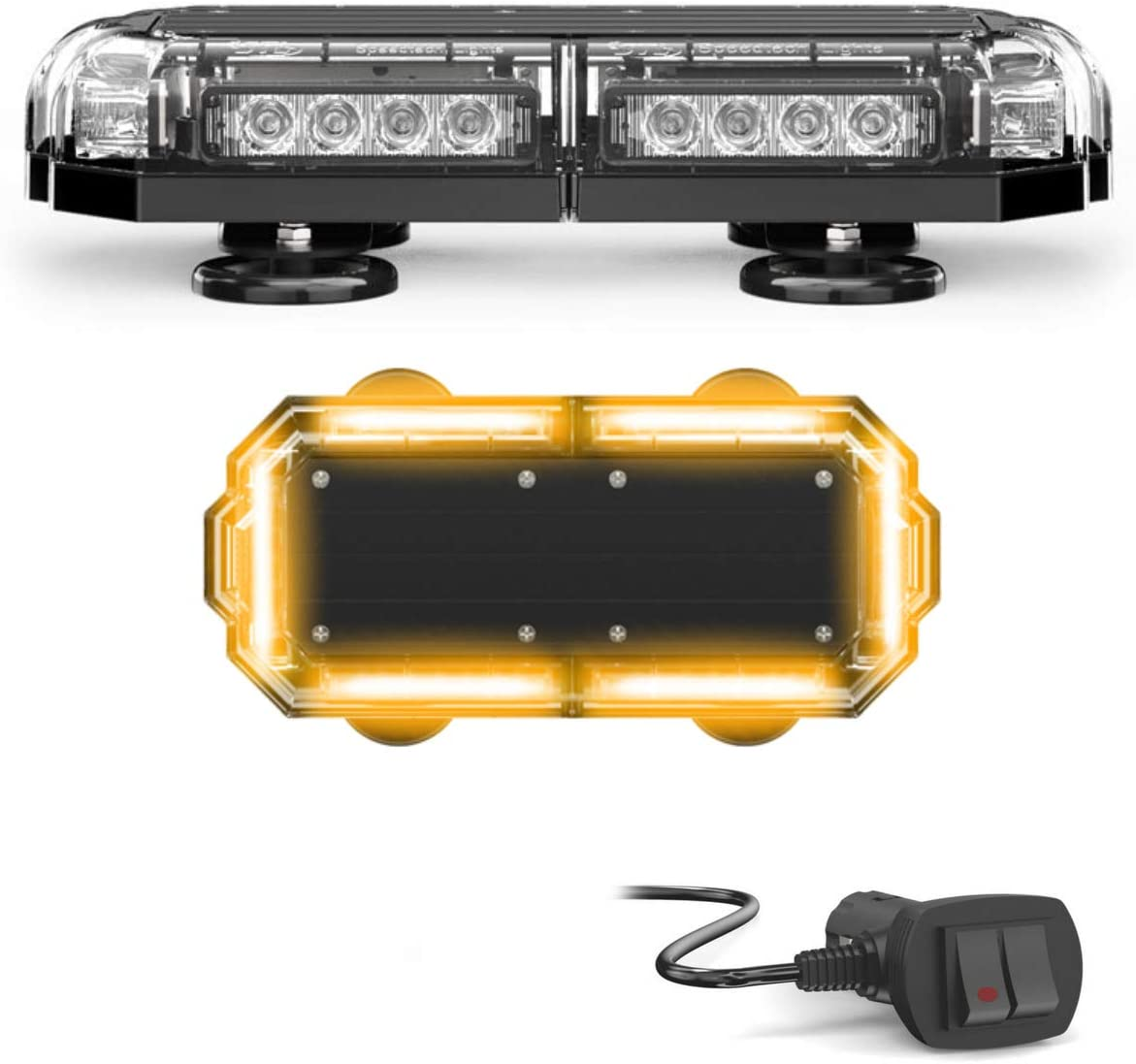 SpeedTech Lights Mini 14 72 Watts LED Strobe Lights for Trucks Plows and Emergency Vehicles with Magnetic Roof Mount in Red//Green Alternating Cars