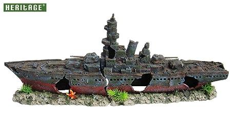 Adorno de buque de guerra naufragado para pecera; figura pintada a mano