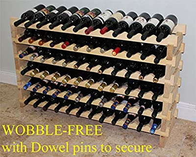"Stackable 72 Bottles Modular Wine Storage Racks, 47"" Wide, Solid Pine Wood, WN84"