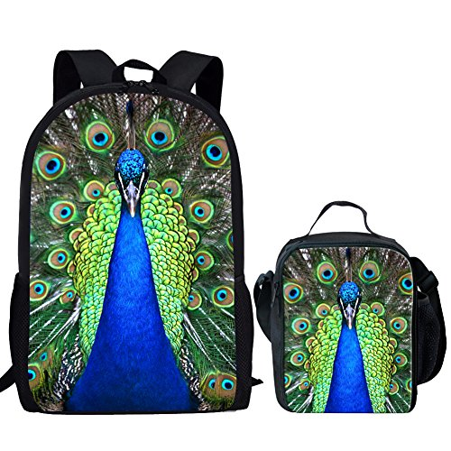 Showudesigns Peacock Print Bookbag School Backpack for Middle Kids Girls with Lunch Bag