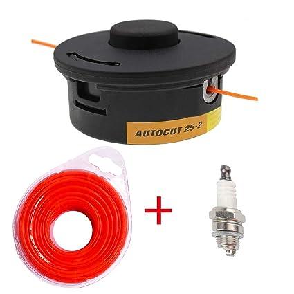 Amazon com: New Trimmer Head 25-2 +Nylon line/Spark Plug for