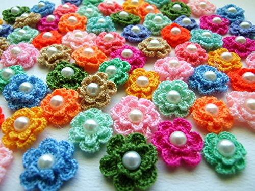 ICRAFY Brand 50 Pcs. Assorted Crochet Flower Pearl Fabric Satin Craft Sewing Appliques DIY Diameter 20 mm.