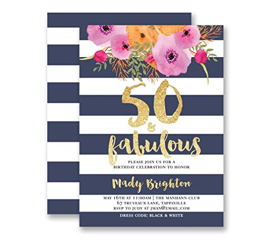 Amazon 50 fabulous birthday invitation navy stripe birthday 50 fabulous birthday invitation navy stripe birthday party navy gold glitter look modern glam filmwisefo