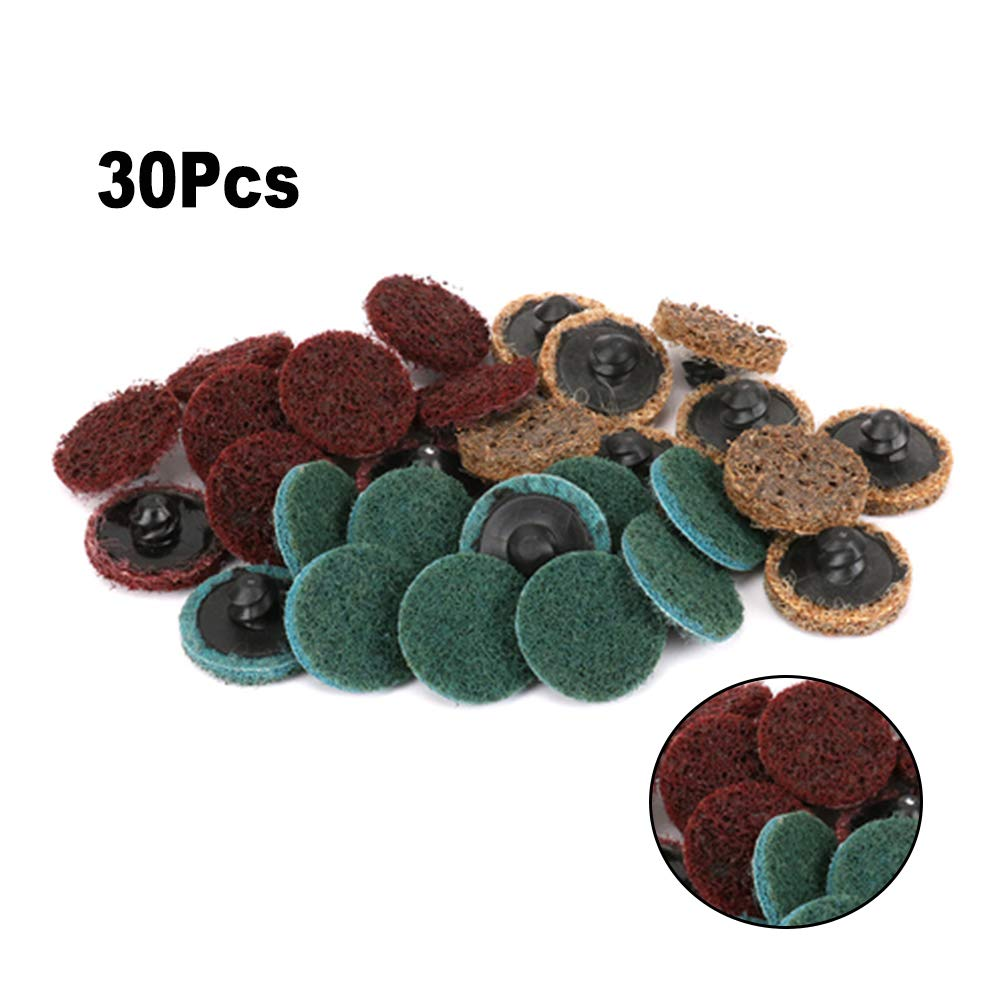 30Pcs 1'' Roloc Type Non Woven Coarse/Medium/Fine Grit Discs Surface Polishing Conditioning Discs with Mandrel for Cleaning Metal and Quickly Removing Rust and Paint